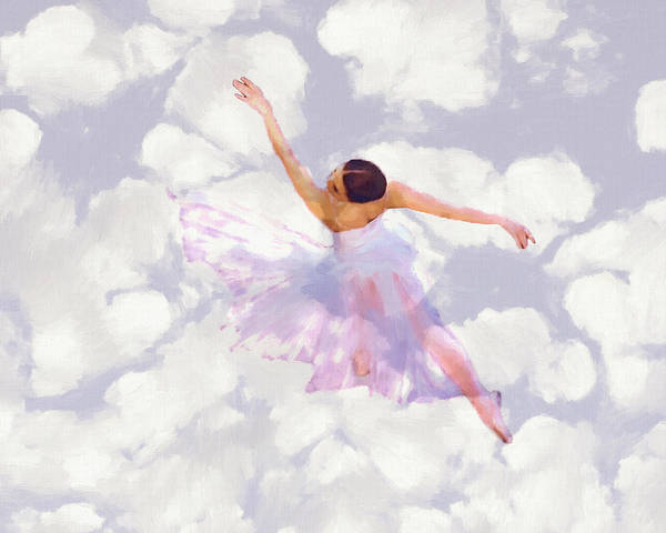 Ballet Dancer Dancing Female Woman Girl Romance Romantic Ballerina Poster featuring the painting Dancing In The Clouds by Steve K
