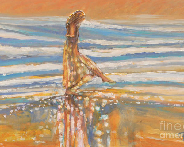 Dancing Poster featuring the painting Dancing In The Surf by Kip Decker