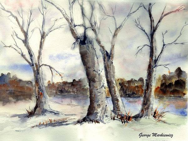 Landscape Poster featuring the print Dancing in Winter by George Markiewicz