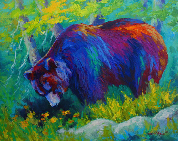 Western Poster featuring the painting Dandelions For Dinner - Black Bear by Marion Rose
