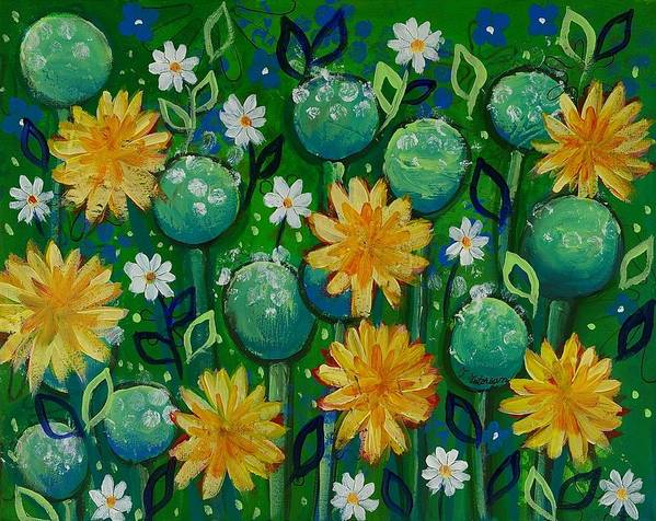 Green Painting Poster featuring the painting Dandelions In People's Park by Teodora Totorean