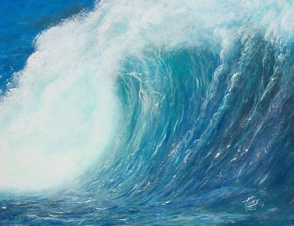 Seascape Poster featuring the painting Danger No Surfing by Tony Rodriguez