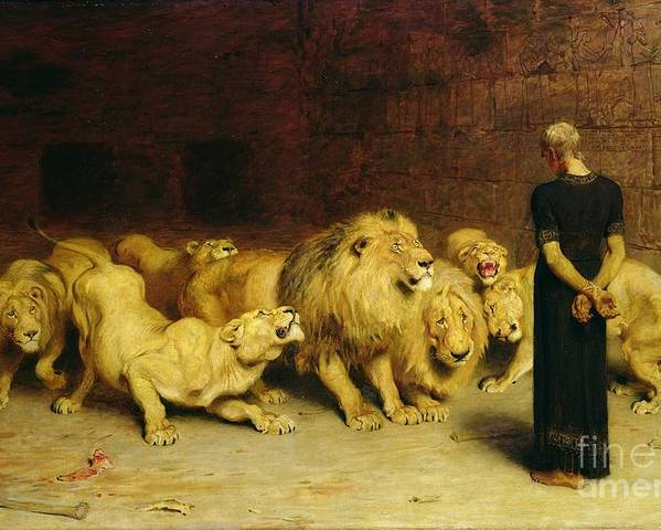 Daniel In The Lions' Den Poster featuring the painting Daniel in the Lions Den by Briton Riviere