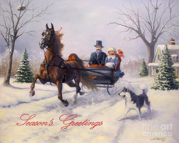 Equine Christmas Cards Poster featuring the painting Dashing Through The Snow by Jeanne Newton Schoborg