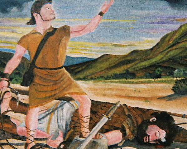 Biblical Poster featuring the painting David And Goliath by Desenclos Patrick