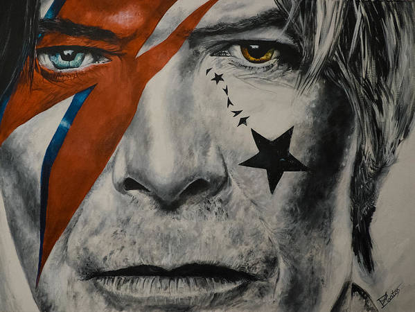 David Bowie Poster featuring the painting David Bowie by Pascal Martos