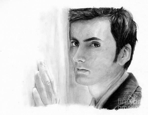 David Tennant Poster featuring the drawing David Tennant 2 by Rosalinda Markle