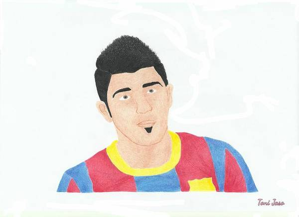 David Villa Poster featuring the drawing David Villa by Toni Jaso