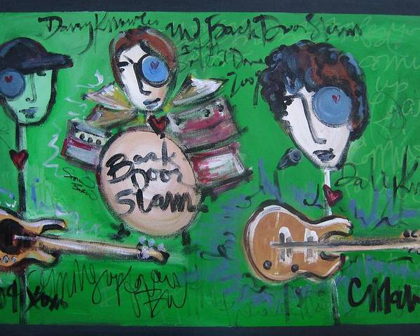 Davy Knowles Poster featuring the painting Davy Knowles And Back Door Slam by Laurie Maves ART