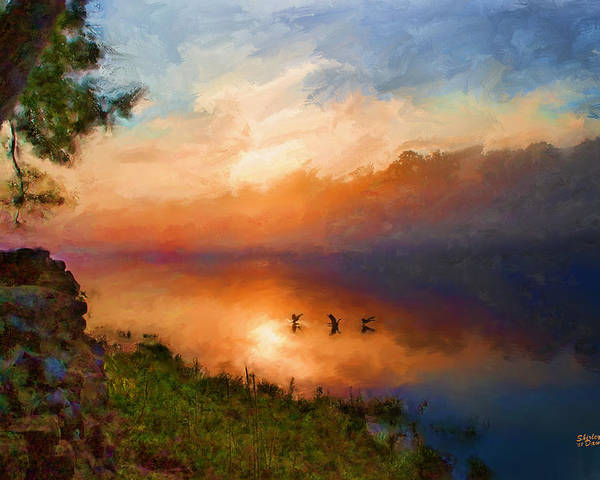Landscape Poster featuring the painting Dawn Flight by Shirley Dawson