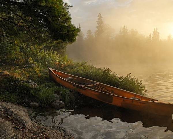 Boundary Waters Canoe Area Wilderness Poster featuring the photograph Dawn On Boot Lake by Larry Ricker
