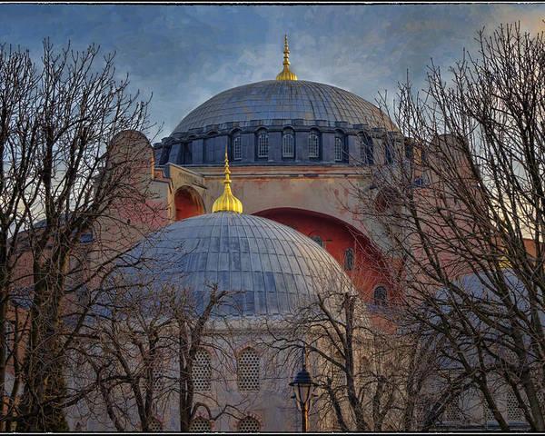 Hagia Sophia Poster featuring the photograph Dawn Over Hagia Sophia by Joan Carroll