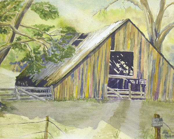 Old Barn Poster featuring the painting Day Is Done by Ally Benbrook