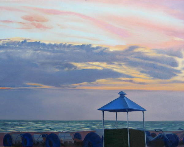 Sunset Poster featuring the painting Day Is Done by Lea Novak
