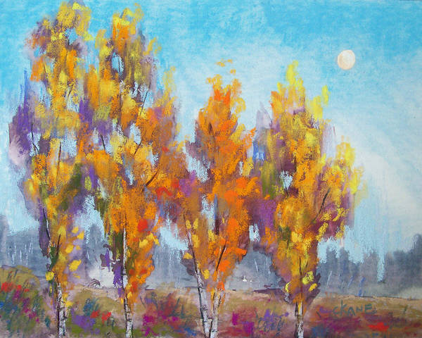 Moon Poster featuring the pastel Day Lit Moon by Christine Camp