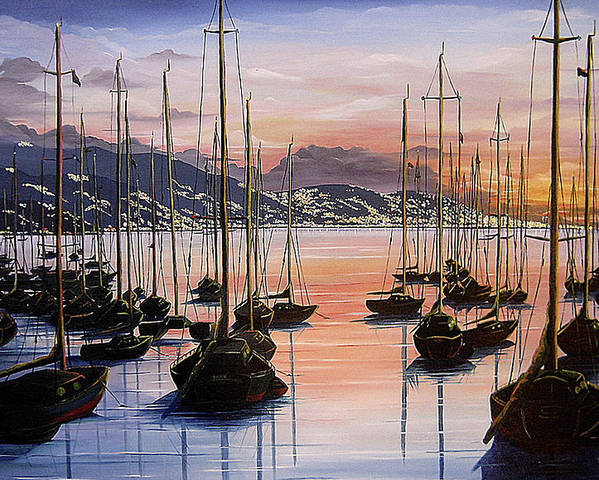 Seascape Painting Yacht Painting Harbour Painting Port Of Spain Trinidad And Tobago Painting Caribbean Painting Tropical Seascape Yachts  Painting Boats Dawn Breaking Greeting Card Painting Poster featuring the painting Daybreak by Karin Dawn Kelshall- Best