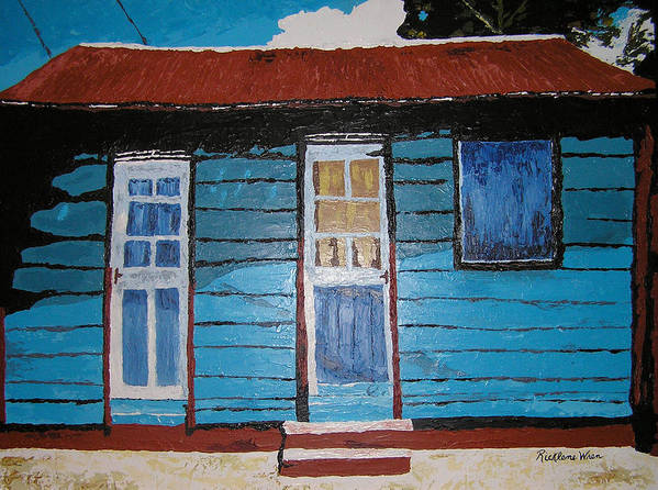 House Poster featuring the painting Daydreaming Blues by Ricklene Wren