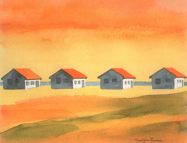 Sunny Day Poster featuring the painting Days Cottages by Carolynn Fischel