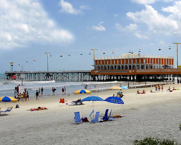 Daytona Beach Florida Poster featuring the photograph Daytona Beach Pier by David Lee Thompson
