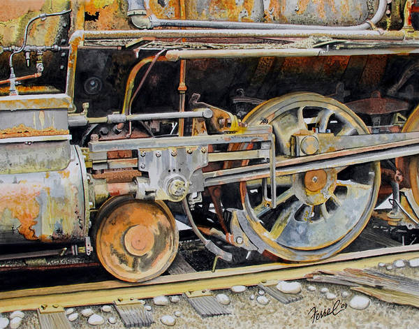 Train Poster featuring the painting Dead In Its Tracks by Ferrel Cordle