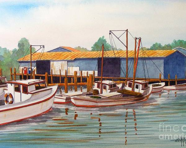Landscape Poster featuring the painting Deadrise Dock by Hugh Harris