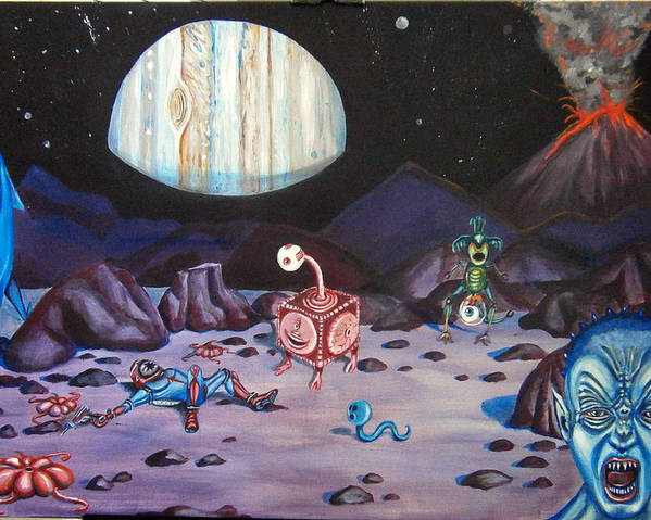 Outer Space Poster featuring the painting Death On Io by Chris Benice