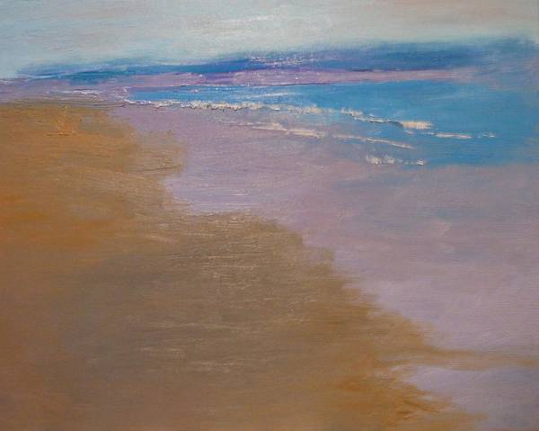 Sea Scape Poster featuring the painting sold December Sea Shore in California by Irena Jablonski
