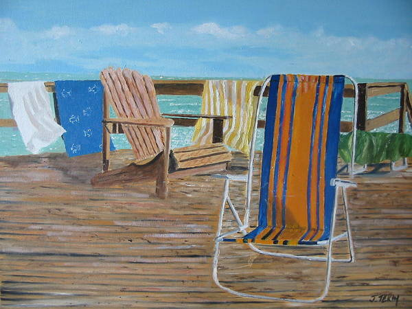 Seascape Poster featuring the painting Deck Chairs by John Terry