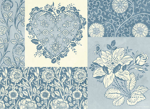 Flowers Poster featuring the painting Deco Heart Blue by JQ Licensing