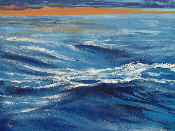Seascape Poster featuring the painting Deep Blue by Pete Maier