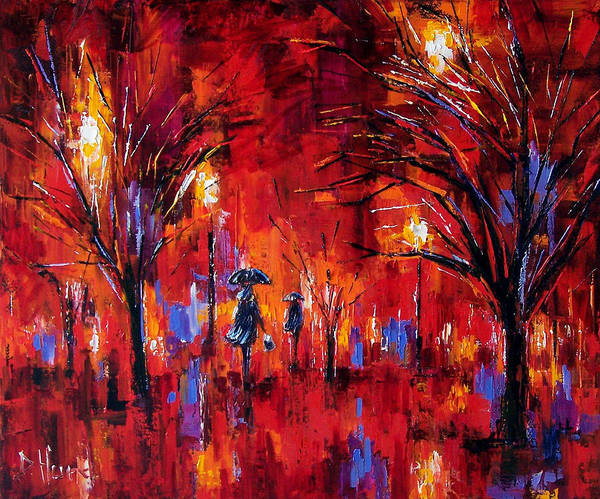 Umbrellas Poster featuring the painting Deep Red by Debra Hurd