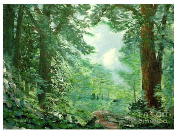 Landscape Poster featuring the painting Deep Woods Path by Hal Newhouser