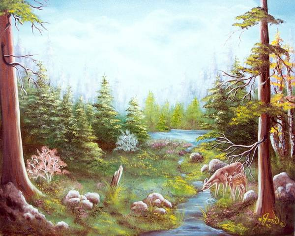 Landscape Poster featuring the painting Deer And Stream by Joni McPherson