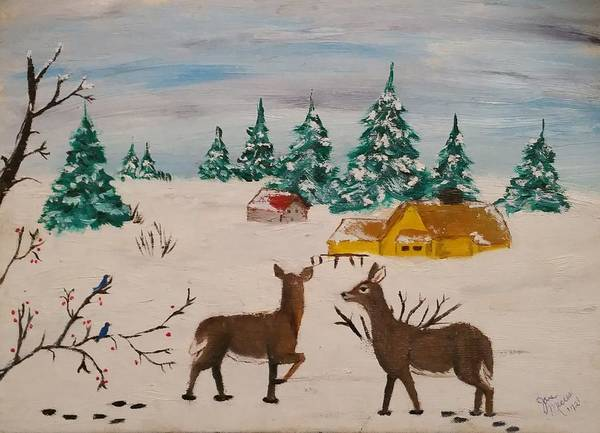 Poster featuring the painting Deer Scene by Jan Marie