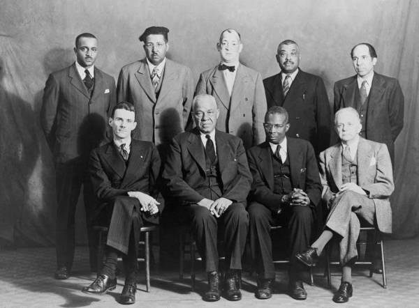 History Poster featuring the photograph Defendants And Naacp Counsel by Everett