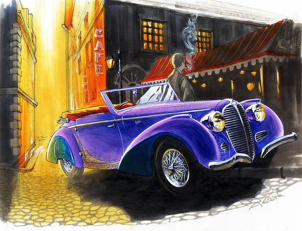 Delahaye Poster featuring the drawing Delahaye by Andre Elista