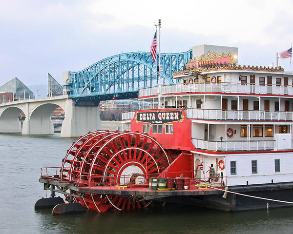 Delta Queen Poster featuring the photograph Delta Queen In Chattanooga by Tom and Pat Cory