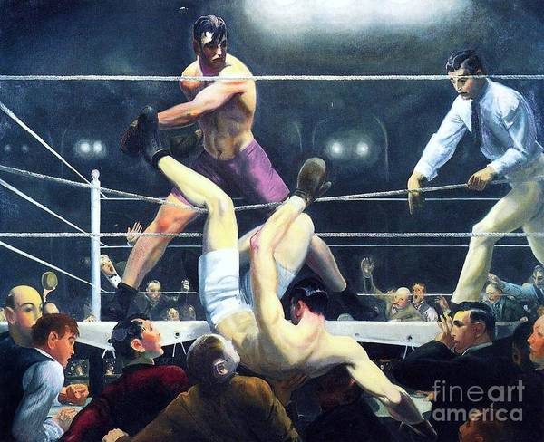Pd Poster featuring the painting Dempsey And Firpo by Pg Reproductions