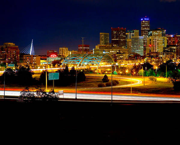 Denver Poster featuring the photograph Denver Night Skyline by James O Thompson