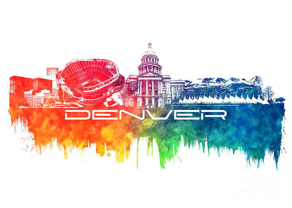 Denver Poster featuring the digital art Denver Skyline City Color by Justyna JBJart