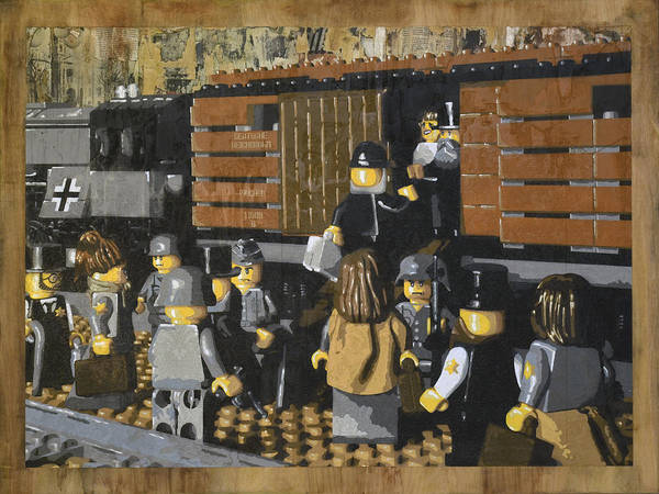 Lego Poster featuring the painting Deportation From Warsaw To Treblinka July 22 1942 by Josh Bernstein