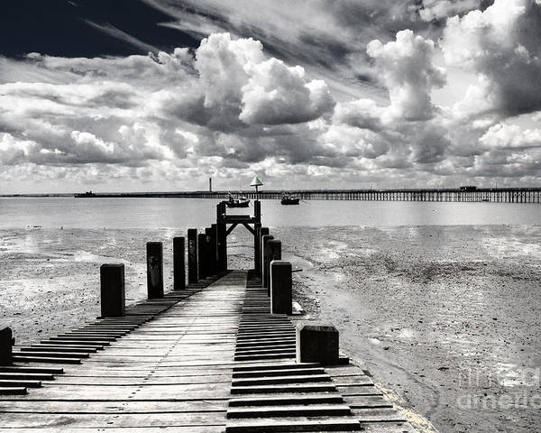 Wharf Southend Essex England Beach Sky Poster featuring the photograph Derelict Wharf by Sheila Smart Fine Art Photography