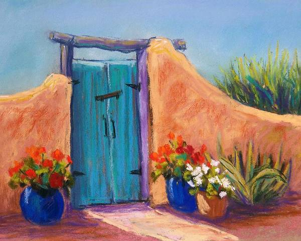 Landscape Poster featuring the pastel Desert Gate by Candy Mayer