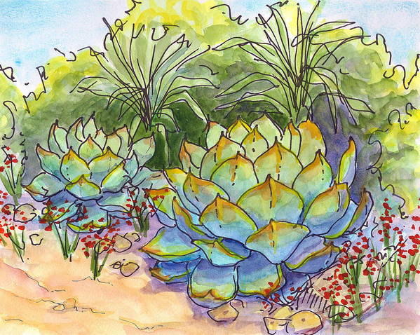 Cactus Poster featuring the painting Desert Gifts by Nancy Matus