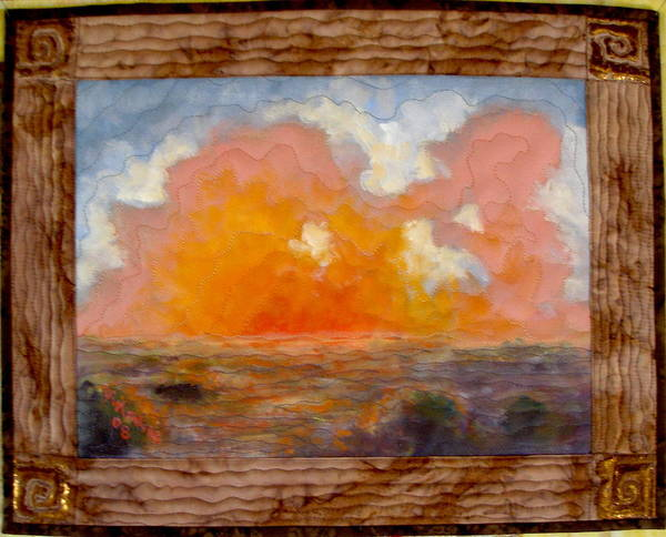 Realism Poster featuring the mixed media Desert Sunset by Diane and Donelli DiMaria