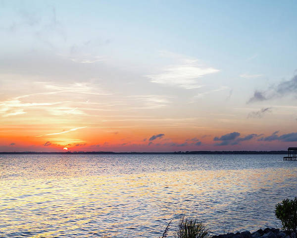 Destin Poster featuring the photograph Destin Sunset Over The Bay by Kay Brewer