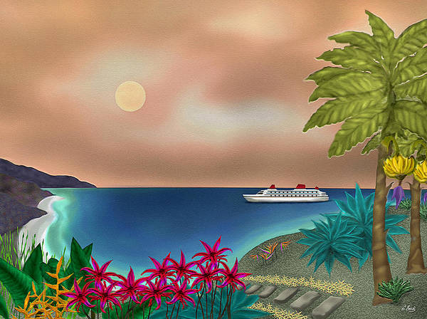 Contemporary Tropical Seascape Ocean Travel Sailing Island Flowers Nature Sunset Gordon Beck Art Poster featuring the painting Destination by Gordon Beck