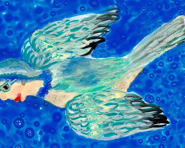 Sue Burgess Poster featuring the painting Detail Of Bird People Flying Bluetit Or Chickadee by Sushila Burgess