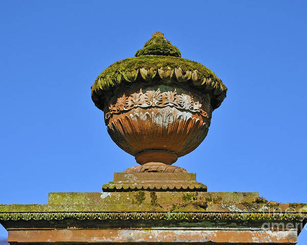 Detail Funerary Urn Gravestone Church Sandstone Moss Lichen All Saints Wetheral Cumbria England United Kingdom Europe Poster featuring the photograph Detail Of Funerary Urn. by Stan Pritchard