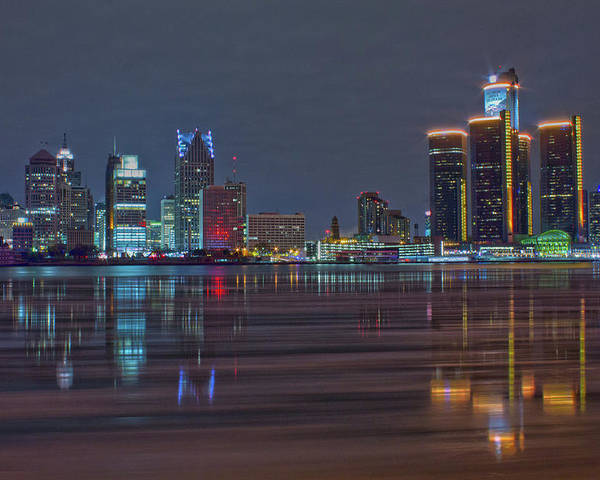 Detroit Poster featuring the photograph Detroit Skyline From Windsor In Hdr by Jay Smith